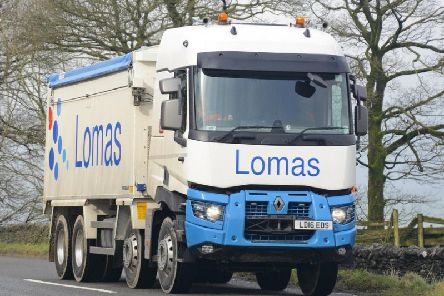 A Lomas Distribution lorry in Buxton