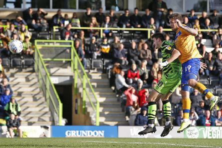 Picture Gareth Williams/AHPIX LTD, Football, Sky Bet League Two, Forest Green Rovers v Mansfield Town, The New Lawn, Nailsworth, UK, 19/10/19, K.O 3pm''Howard Roe>07973739229''Mansfield's Andy Cook heads home to pull a goal back against Forest Green Rovers