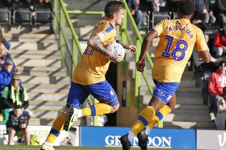Picture Gareth Williams/AHPIX LTD, Football, Sky Bet League Two, Forest Green Rovers v Mansfield Town, The New Lawn, Nailsworth, UK, 19/10/19, K.O 3pm''Howard Roe>07973739229''Mansfield's Andy Cook celebrates his goal against Forest Green Rovers