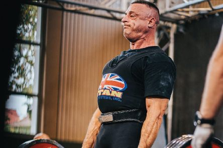 Powerlifter Craig Stone on his way to one of his world titles in Leipzig, Germany.