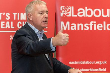 Labour Party chairman Ian Lavery speaking at the Mansfield event.