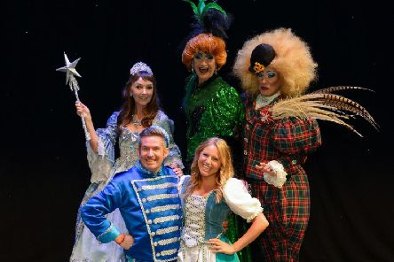 The cast of Cinderella -  Melanie Walters as the Fairy Godmother, Adam Moss as Buttons, Olivia Birchenough as Cinderella and Jamie Morris and Tarot Joseph as the Ugly Sisters.