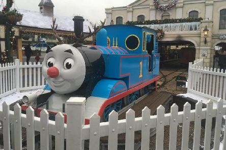 Thomas the Tank Engine is ready for Christmas at Thomas Land at Drayton Manor theme park.