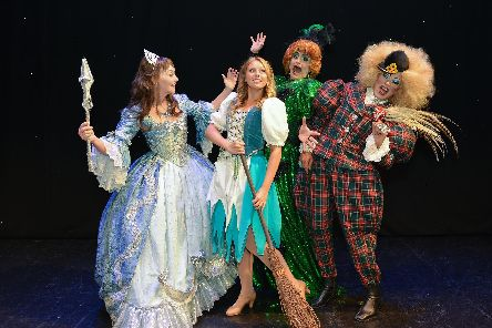 Mansfield Palace Theatre presents Cinderella, pictured are Melanie Walters as the Fairy Godmother, Olivia Birchenough as Cinderella and Jamie Morris and Tarot Joseph as the Ugly Sisters