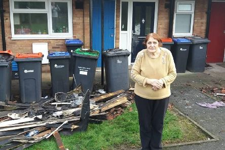 Resident Jasmine Clifford outside a  fire damaged flat on Willow Crescent  Sutton on December 29 2018.