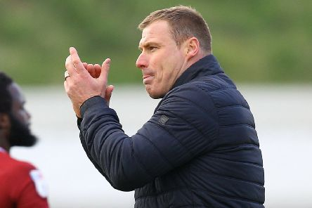 Picture by Gareth Williams/AHPIX.com; Football; Sky Bet League Two; Northampton Town v Mansfield Town; 13/4/2019  KO 15.00; PTS Academy Stadium; copyright picture; Howard Roe/AHPIX.com; David Flitcroft thanks the travelling Mansfield fans for their support after the draw at Northampton