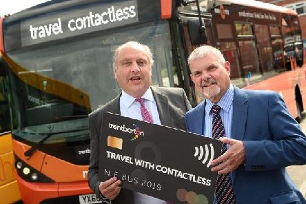L-R John Clarfelt, Ticketer CEO and Jeff Counsell managing director of trentbarton Image: Trentbarton