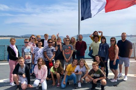 Students from Shirebrook and Toulon on the exchange trip to France.