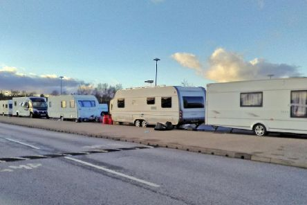 Travellers at the car park of Oak Tree Leisure Centre in December 2018.