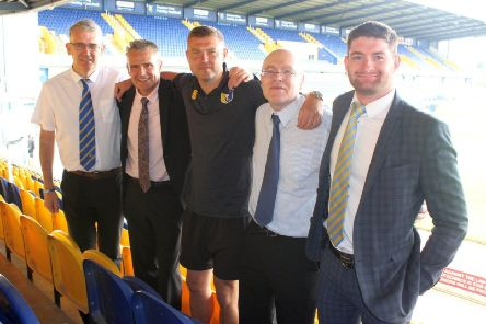 Stags' commercial manager Paul Nyland, Mansfield 103.2 head of sales Paul Chadbourne, Stags' manager John Dempster, Mansfield 103.2 head of sport Jason Harrison and Stags' head of media and communications Mark Stevenson.