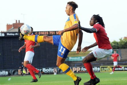 Mansfield Town v Nottingham Forest U23s  'Nicky Maynard brings the ball under his control in the first half.