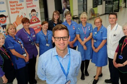 Richard Mitchell the Chief Executive of Sherwood Forest Hospitals NHS Trust with staff at Kings Mill Hospital.