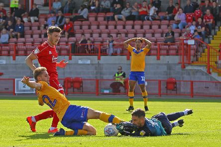 Picture Gareth Williams/AHPIX LTD, Football, Sky Bet League Two, Crawley Town v Mansfield Town, Checkatrade.com Stadium, Crawley, UK, 14/09/19, K.O 3pm''Howard Roe>07973739229''Mansfield's Danny Rose wastes a glorious chance as he overruns the ball and collides with Crawley keeper Glenn Morris