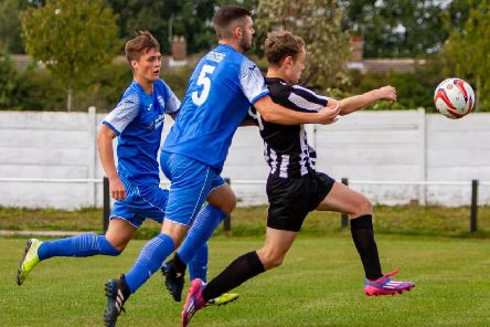 Action from Clipstone's 1-0 defeat at home to Graham Street Prims. (PHOTO BY: Daniel Walker)