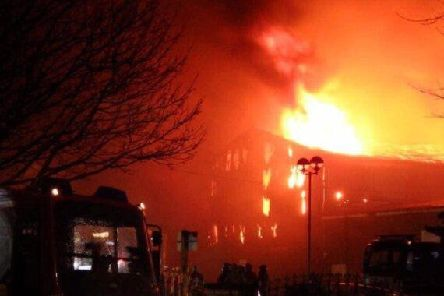 The Fairport Engineering fire being tackled on 4th February, 2019