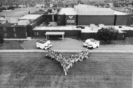 Employees of Yorkshire Television line up outside their studios in 1986.