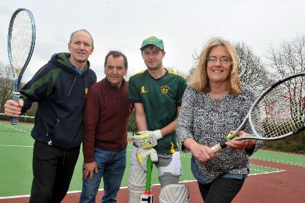 Vice chairman Graham Green, committee member Dean Harris, member of the Withnell Fold Cricket Club Declan Charnock and committee member and tennis player Jayne Stevens