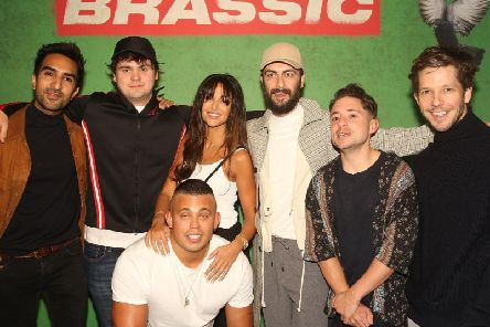 Joe Gilgun and Michelle Keegan, centre, with the cast of Brassic (Photo: Dave Benett/Getty Images for Sky)