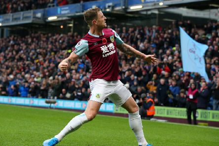 Clarets striker Ashley Barnes celebrates his fifth Premier League goal of the campaign