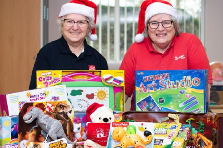 Elizabeth Smith and Brenda Wise from The Salvation Army promote the Clitheroe Toy Appeal