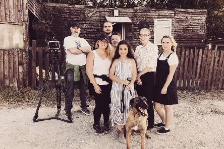 Natasha Hibbert (second left) and her team on the set of Vacant. (s)