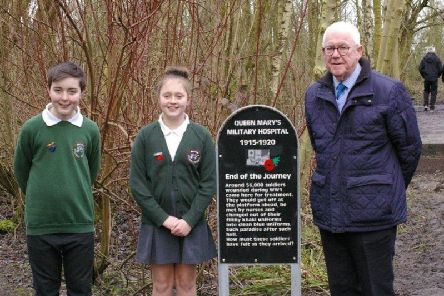 Coun. Terry Hill with local school pupils at the unveiling ceremony.