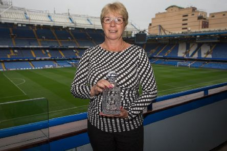 Clitheroe's Anne Barker with the PFA Fair Play Award