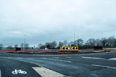 How the new A59 roundabout looks.