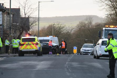 Emergency services at the scene of the accident on Friday