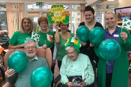 St Patricks Day was celebrated at The Manor House Nursing Home, Chatburn, with leprechauns, shamrocks and flags decorating the dining room.