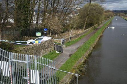 The scene near the canal tow path on Friday
