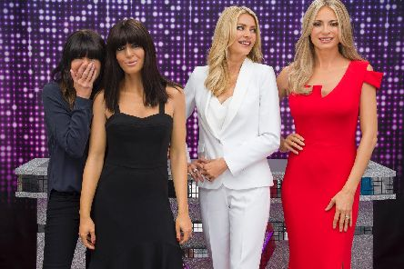 Strictly Come Dancing presenters Tess Daly and Claudia Winkleman with their new waxworks at Madam Tussauds in Blackpool