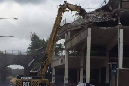 Work is ongoing to knock down the town's multi-storey car park
