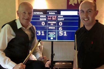 Six-time world champion Steve Davis with Adam Cupit, who beat him in a challenge match. (PHOTO BY: Karl Brownlow)