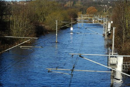 Flooding on a trainline in Kirkstall.