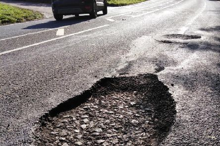 The pothole struck by a former police response driver in Derbyshire.