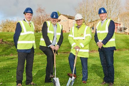 Pictured are, from left, Jon Cotton, procurement manager at Lubrizol, Simon Griffiths, general manager of Lubrizol, Chris Flint, director of G F Tomlinson and Matthew Joyce, vice president sales and marketing at Lubrizol.