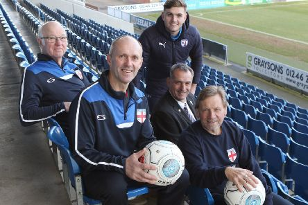 Chesterfield player Laurence Maguire welcomes the captains and managers of the England teams at the launch of walking football's European Nations Cup at the Proact Stadium.