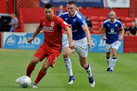 "Chesterfield FC v Alfreton Town FC, Alfreton�""s Josh Wilde and Sam Wedgbury"