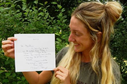 Megan Birch, from Hathersage, with her handwritten letter from David Attenborough.