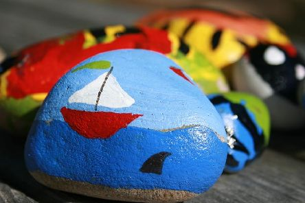 Stoned love ... painted pebbles appeal