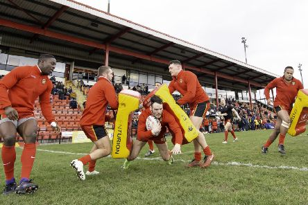 Dewsbury Rams warm up before last Sunday's game against Swinton Lions.