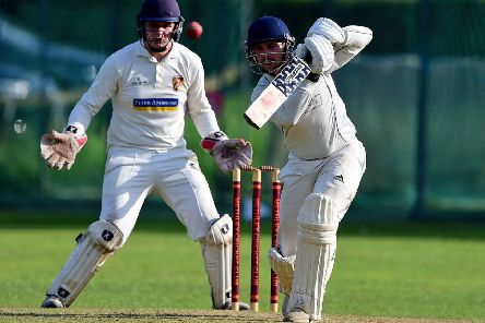 Cleckheaton's Toby Thorpe in action during his side's two-run loss to Methley last Saturday. Pic: Paul Butterfield