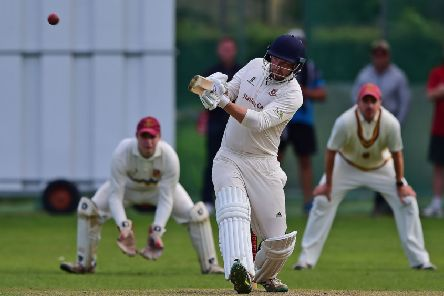 Cleckheaton batsman Nick Lindley hits out during last saturday's Bradford Premier League clash against Methley. Picture: Paul Butterfield.