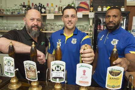 Doncaster Brewery Tap supports the World Cup bid with a special brew'Jordey Hedges and Jason Tali with Ian Blaylock