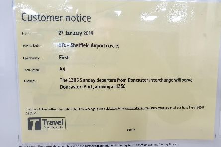 Yellow notice in one of the information display boards that are installed at each service boarding point in the Interchange