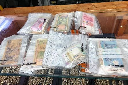 Foreign currency was seized in a police operation in Doncaster this morning