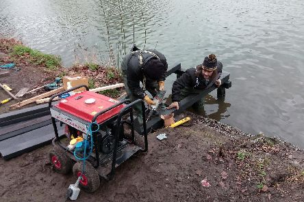 Construction of the fishing pegs at Askern Lake