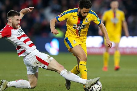 Ben Whiteman challenges Andros Townsend of Crystal Palace