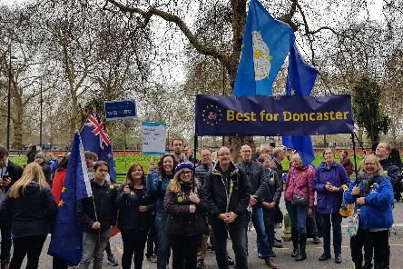 Members of the Best for Doncaster group at Saturday's march in London.
